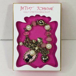 Betsey Johnson CAT Gold Pearl Crystal Bracelet